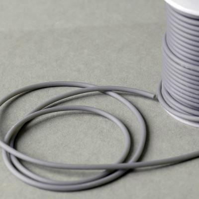 Шнур резиновый, с отверстием, цвет серый, диаметр 3 мм