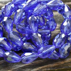 Бусина стеклянная граненая, синий АВ, 15х10 мм...
