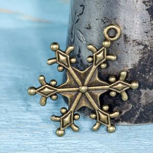 Подвеска металлическая в виде снежинки, античная бронза...
