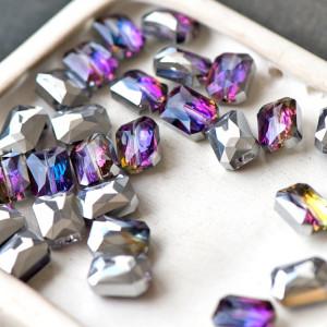 Бусина стекло граненая, фиолетовый радужный, 12x9x7 мм...