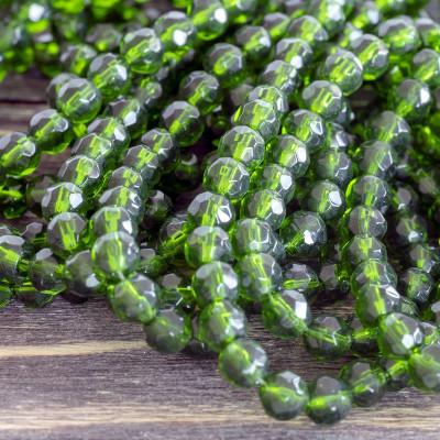 Бусина круглая стеклянная с гранями, зеленый, 6 мм