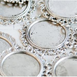 Сеттинг круглый с местом под кабошон, античное серебро,...