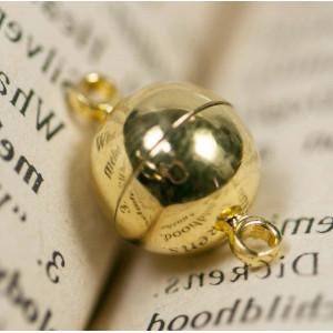 Застежка магнитная круглая, цвет - золото, 16х10 мм...
