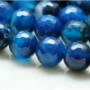 Граненые бусины агата, цвет темно-синий, окрашен.,10  м...