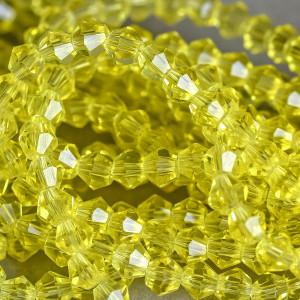 Бусина биконус стеклянная, желтый, 4 мм (уп 30шт)...