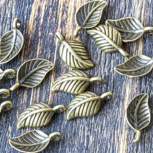Подвеска металлическая в форме листа, античная бронза, ...