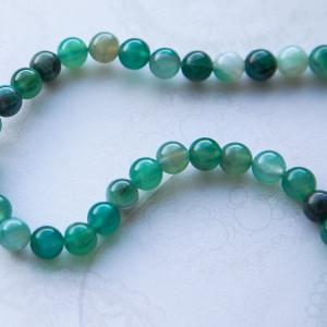 Бусины агата, цвет зеленый, окрашен., 8 мм...