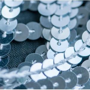 Пайетки на нити, серебряный, 6 мм...
