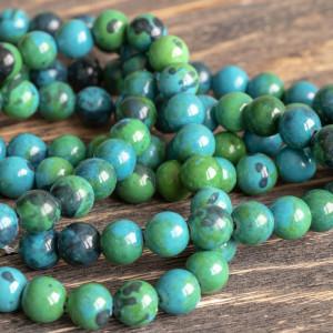 Бусина хризоколла 10, цвет сине-зеленый, окрашен., 10 м...
