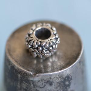 Бусина-тоннель металлическая, античное серебро, 11х7 мм...