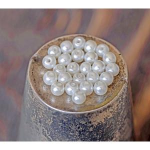 Бусина стеклянный жемчуг, сливочный, 3 мм  (уп 100шт)...
