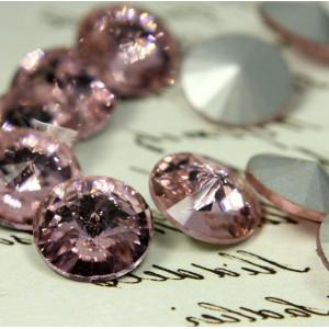 Кабошон стеклянный круглый Риволи, розовый, 14х7 мм...