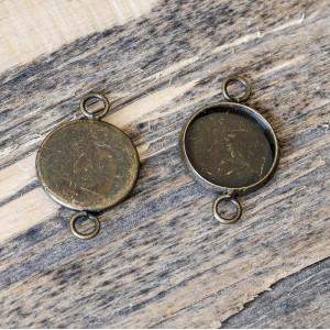 Коннектор-сеттинг 1-1 отв, античная бронза, 22x14x2 мм...