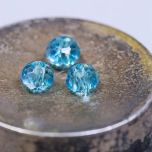 Бусина абакус стеклянная граненая, голубой, 4x3 мм (уп ...