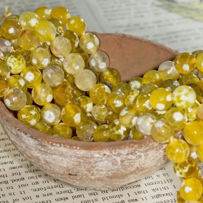 Граненые бусины агата, желтые оттенки, окрашен, 10 мм