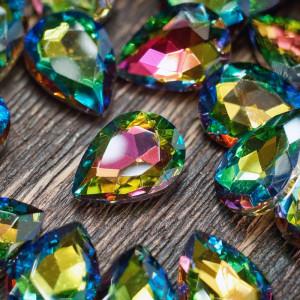 Кабошон стеклянный с гранями, капля, разноцветный, 14х1...