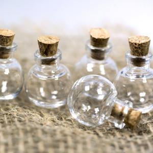 Бутылочка с крышкой круглая, стекло, прозрачная, 24,5x2...