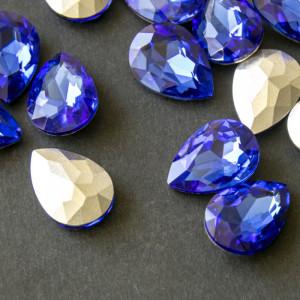 Кабошон стеклянный с гранями, каплями, светло-синий, 18...