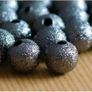 Бусина металлическая с напылением, черный, 12 мм...