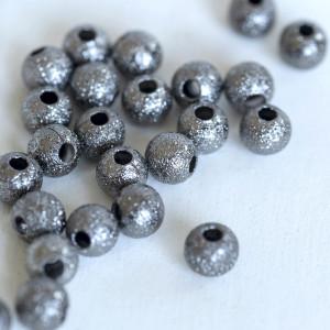 Бусина металлическая с напылением, черный, 4 мм (уп 10ш...