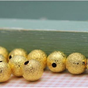 Бусина металлическая с напылением, золото, 8 мм...