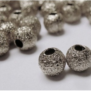 Бусина металлическая с напылением, платина, 4 мм (уп 10...