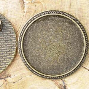 Заготовка для броши, круглая, античная бронза, 35х2 мм...