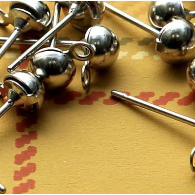 Пуссеты-гвоздики, платина, 12х4,5 мм