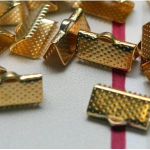 Зажим-концевик для ленты, золото, 13x7 мм...