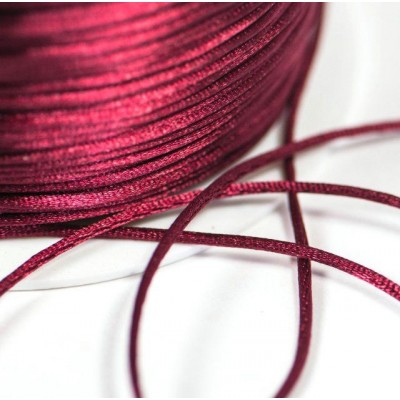 Атласный шнур для кумихимо, бордовый, 1 мм (4 м)