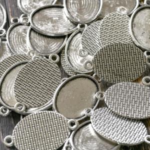 Коннектор-сеттинг 1-1 отв, античное серебро, 36x21x2 мм...