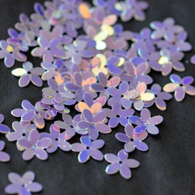 Пайетки фигурные, фиолетовый радужный, 10 мм (уп 5г)