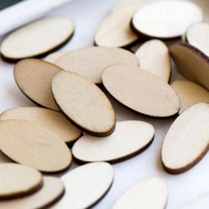Кабошон деревянный, овал, неокрашенный, 24x12x2.5 мм...