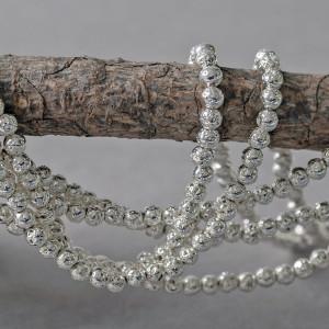 Бусина из натуральной лавы 4 мм, цвет серебристый...