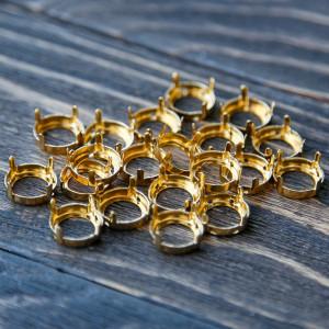 Цапы круглой формы, открытые, цвет золото, 14 мм...