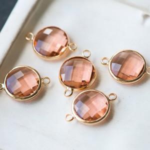 Коннектор со стеклом, золото/розовый, 22x14.7x6 мм...