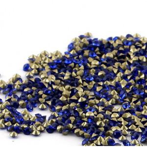 Стразы стеклянные ювелирные, цвет синий, 2.2 мм (уп 10 ...