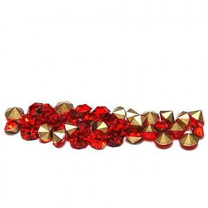 Стразы стеклянные ювелирные, красный, 3.6 мм (уп 10 шт)...