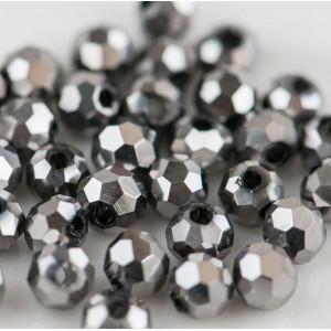 Бусина круглая стеклянная с гранями, серебряный, 3 мм (...