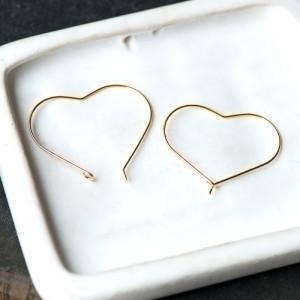 Швензы в виде сердечка, покрытие Real Gold Plated, 30x3...