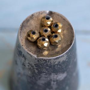 Бусина абакус стеклянная граненая, золотой, 6х5 мм...