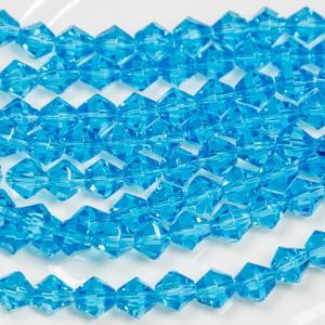 Бусина биконус стеклянная, ярко-голубой, 8 мм...