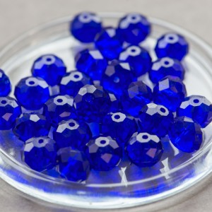 Бусина абакус стеклянная граненая, ярко-синий, 14х10 мм...