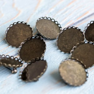 Заготовка для броши, круглая, античная бронза, 26 мм...