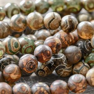 Бусины агата, натуральные тона, с рисунком, 10 мм...