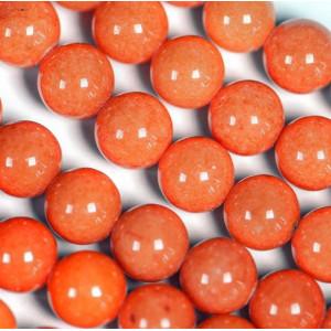 Бусина имитация нефрита, круглая, цвет оранжевый, окраш...