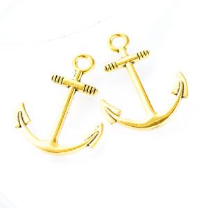 Подвеска металлическая в виде якоря, цвет - золото, 31x...