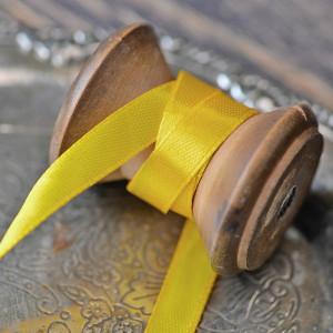 Атласная лента, лимонно-желтый, ширина 10 мм...