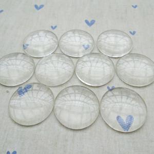 Кабошон стеклянный, круглый, прозрачный, 25х7.4 мм...