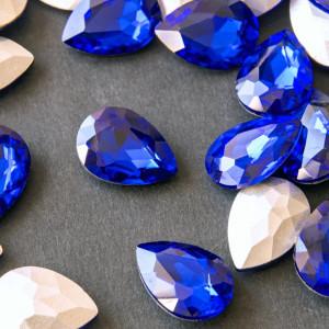 Кабошон стеклянный с гранями, капля, цвет синиый, 18х13...